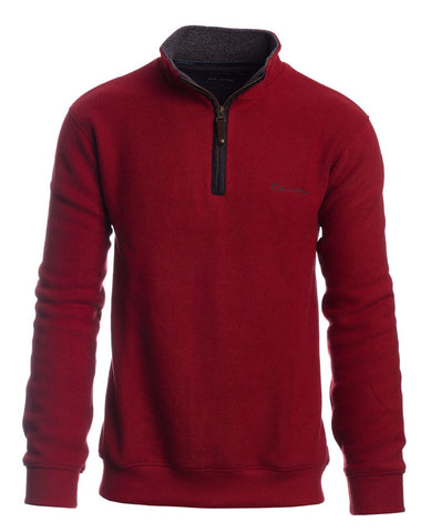 Ethnic Blue -  Zip neck sweater RED with WOOL