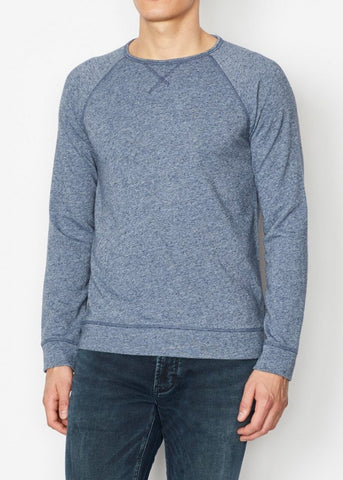 John Varvatos - Domenic Long Sleeve Neppy Terry Crew with Coverstitch