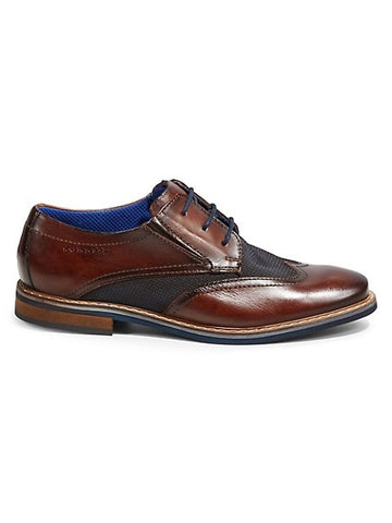 DARK BROWN / BASILEO COLOURBLOCK LEATHER BROGUES