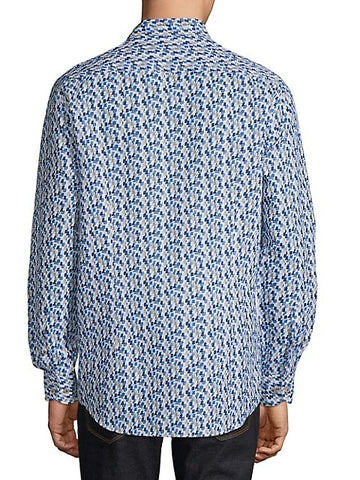 Bugatti – Abstract Optical-Print Linen-Cotton Shirt