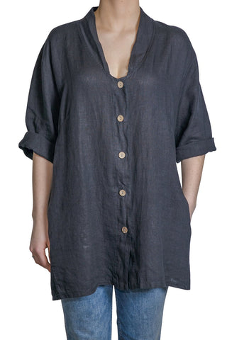Pure by Eternelle - V-neck shaped tunic shirt Black