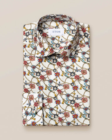 Eton - Red Flowers & Cord Print Shirt