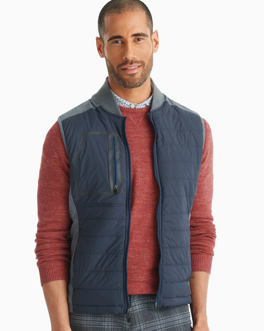 Johnnie-O, Duffy 2-Way Zip Front Quilted Mixed Media Vest