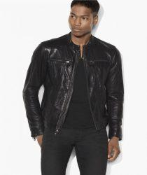 John Varvatos, Leather Denim-Style Zip Front Jacket