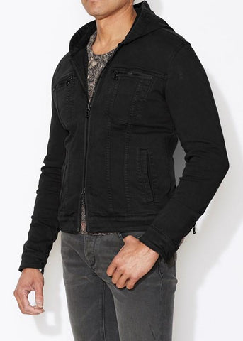 The Knit-Stretch Hooded Jean Jacket