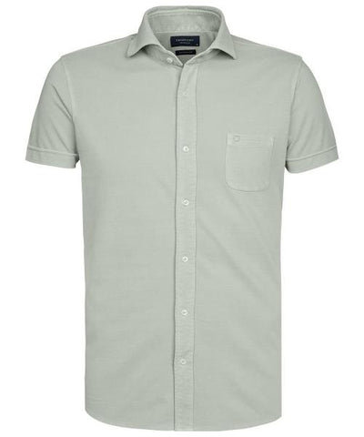 PROFUOMO / GREEN KNITTED SHORT SLEEVE SHIRT