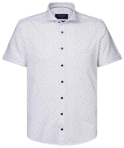 PROFUOMO / WHITE PRINT SHIRT WITH SHORT SLEEVES