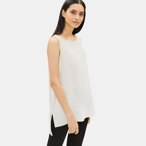 EILEEN FISHER - SYSTEM SILK GEORGETTE CREPE LONG SHELL