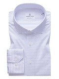 Emanuel Berg - White 4Flex Shirt With Navy Micro Print