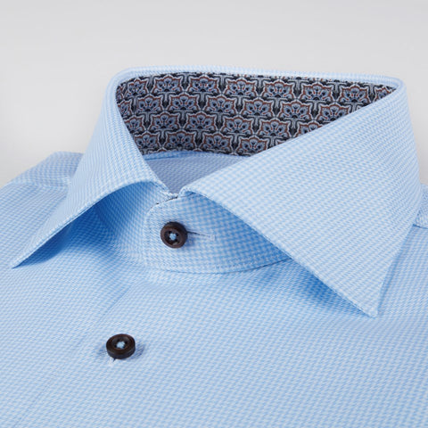 Stenstroms Blue Fitted Body Shirt w. Contrast