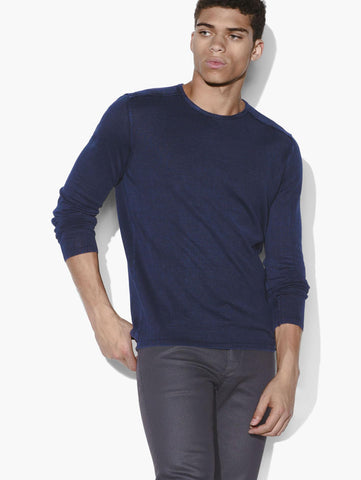 John Varvatos The Long Sleeve Acid Wash Crew Neck