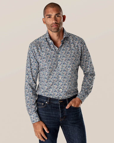ETON - Blue Stained Floral Signature Twill Shirt