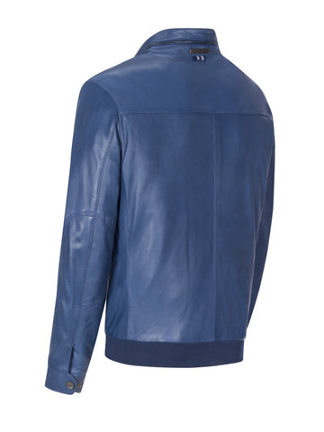 Bugatti - Leather Mock Neck Jacket