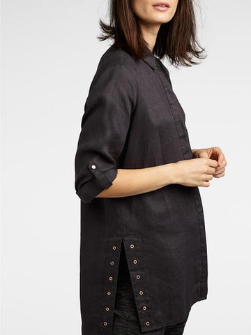 Sandwich Long Linen Blouse with Eyelets