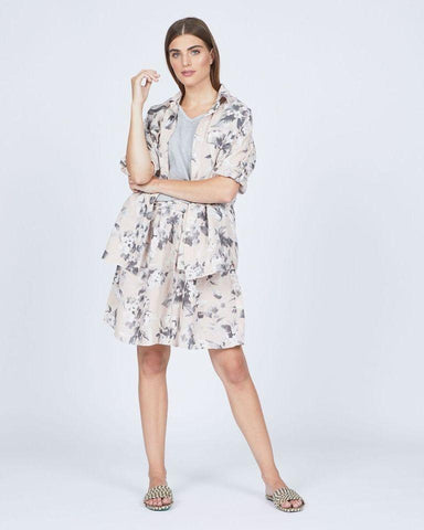 Pistache Loose Floral Double Pocket Linen Blouse by Pistache