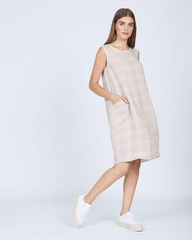 Pistache Linen Sleeveless Plaid Dress by Pistache
