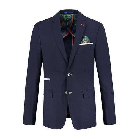 A FISH NAME FRED BLAZER NAVY LINEN LOOK