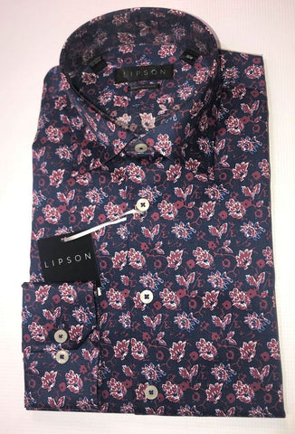 Lipson Floral Wine Contemporary Fit Dress Shirt