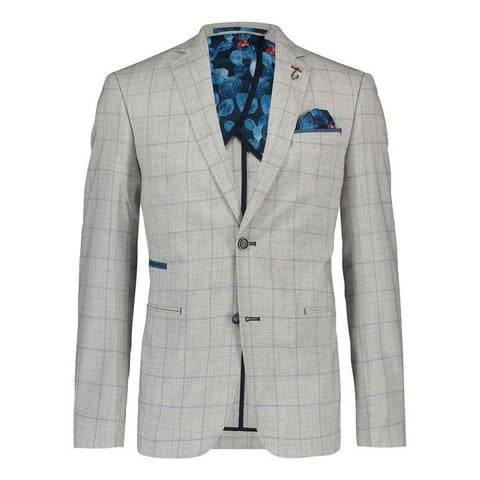 A FISH NAME FRED BLAZER GREY WINDOWPANE