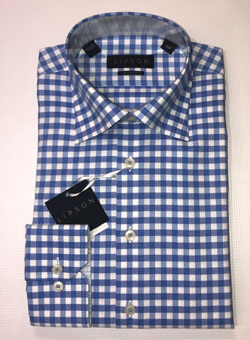 Lipson Checkered Blue Contemporary Fit Dress Shirt