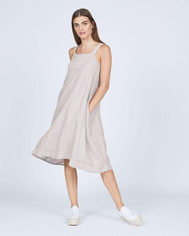 Pistache Linen and Cotton Rib Sleeveless Dress by Pistache