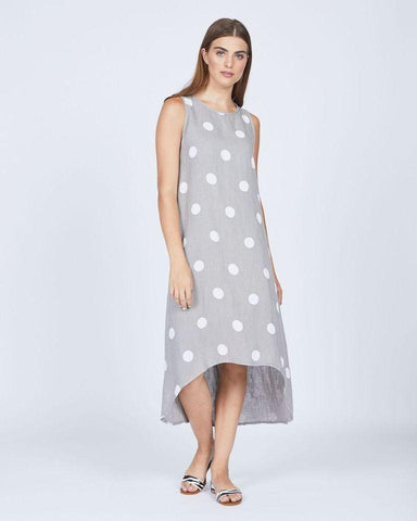 Pistache Linen Sleeveless Polka Dot Long Dress by Pistache