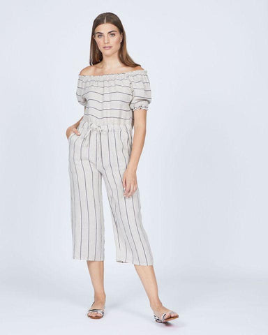 Pistache Off Shoulder Linen Striped Jumpsuit by Pistache