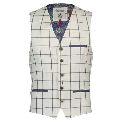 A FISH NAME FRED VEST OFF WHITE CHECK