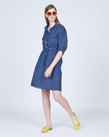 Pistache Linen Long Sleeve Safari Dress by Pistache