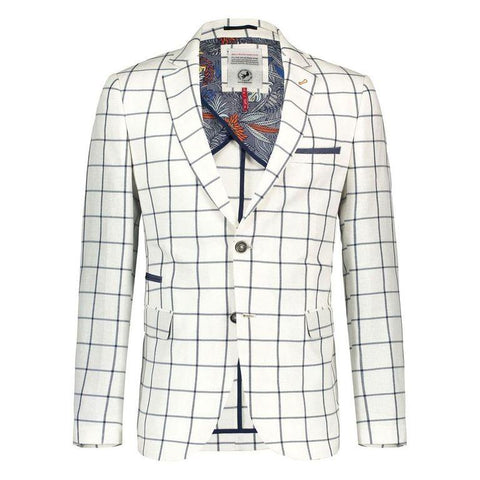 A FISH NAME FRED BLAZER OFF WHITE CHECK
