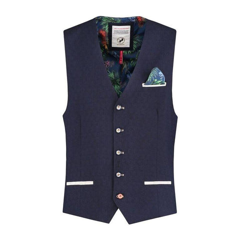 A FISH NAME FRED VEST NAVY LINEN LOOK