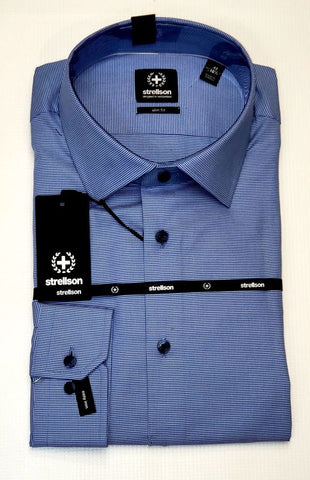 Strellson - Blue Pattern Slim Fit Dress Shirt