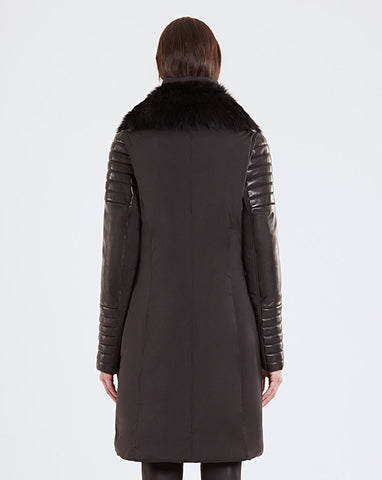 RUDSAK - MERLA, Down Coat with Leather Sleeves