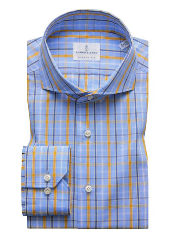 Emanuel Berg Fine Poplin Multi Plaid Luxury Sportshirt