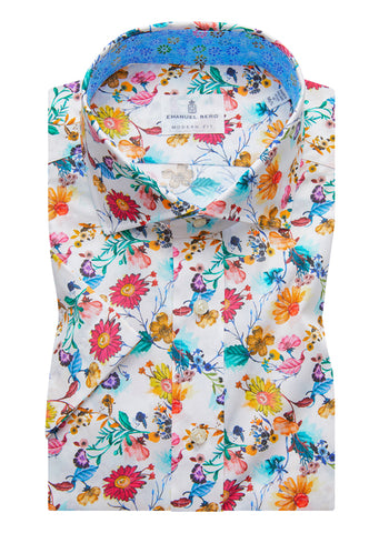 Emanuel Berg - Floral Multi Print Short Sleeve Shirt