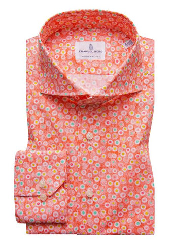 Poplin Stretch Multi Print Luxury Sportshirt