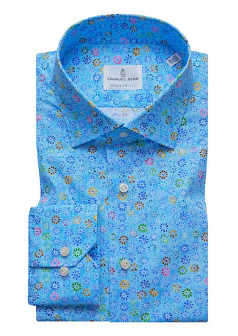 Emanuel Berg Poplin Stretch Multi Print Luxury Sportshirt