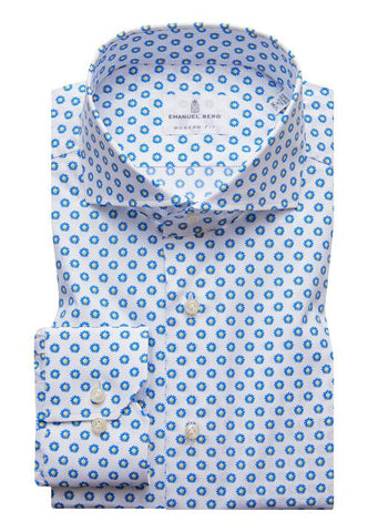 Emanuel Berg Poplin Stretch Mini Floral Luxury Sportshirt