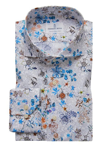 Emanuel Berg Poplin Stretch Floral Pattern Luxury Sportshirt