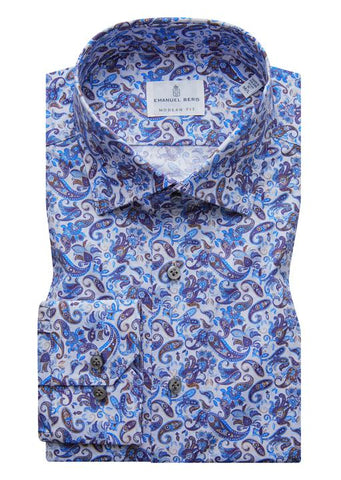 Poplin Stretch Paisley Luxury Sportshirt