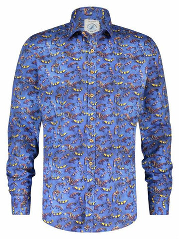A FISH NAMED FRED - SHIRT ART FISHES BLUE