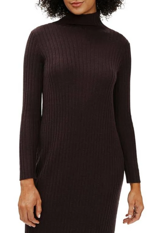 EILEEN FISHER - MERINO SCRUNCH NECK DRESS IN REGENERATIVE WOOL