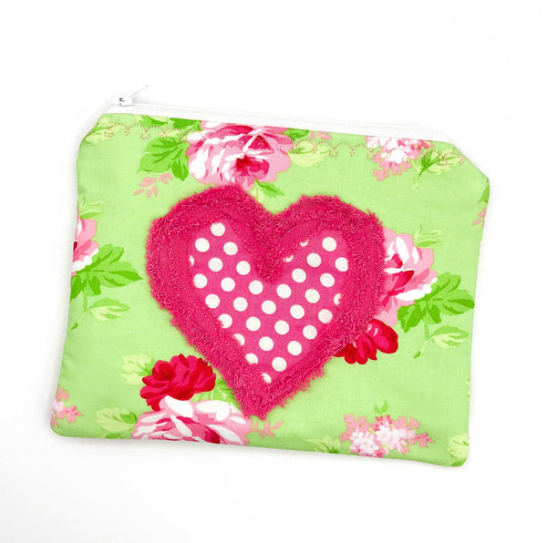 MY HEART POUCH for Everything You Love Floral Zipper Bag Rose Zipper Pouch Chenille Heart Pouch Shabby Chic Zipper Pouch