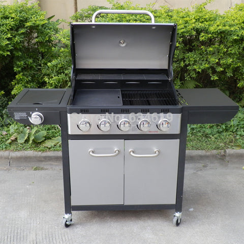 Image of Lava rock outdoor garden villa bbq gas grill