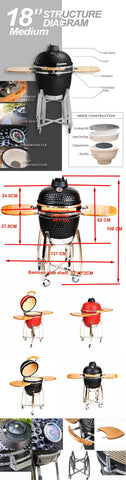 Image of 18 inch Kamado Outdoor Kitchen Ceramic BBQ Grill