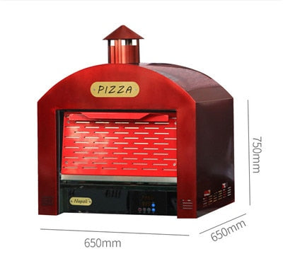 Image of Double Layers Electric Oven Red Pizza Oven with Chimney
