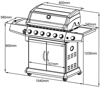 Steel 304 grand outdoor gas bbq grill six burners