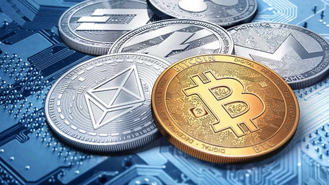 Picture of Crypto coins. Bitcoin, Ethereum
