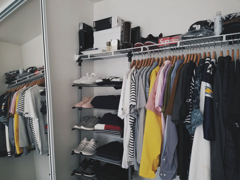 wardrobe looking real neat, organized shelfs. Very vibrant colors. #theofficialdealers