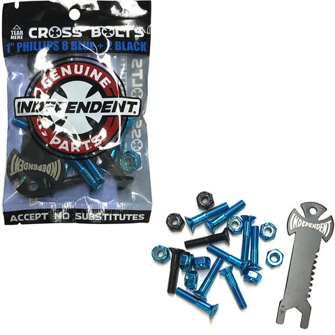 "Independent Cross Bolts 1"" Phillips Blue"